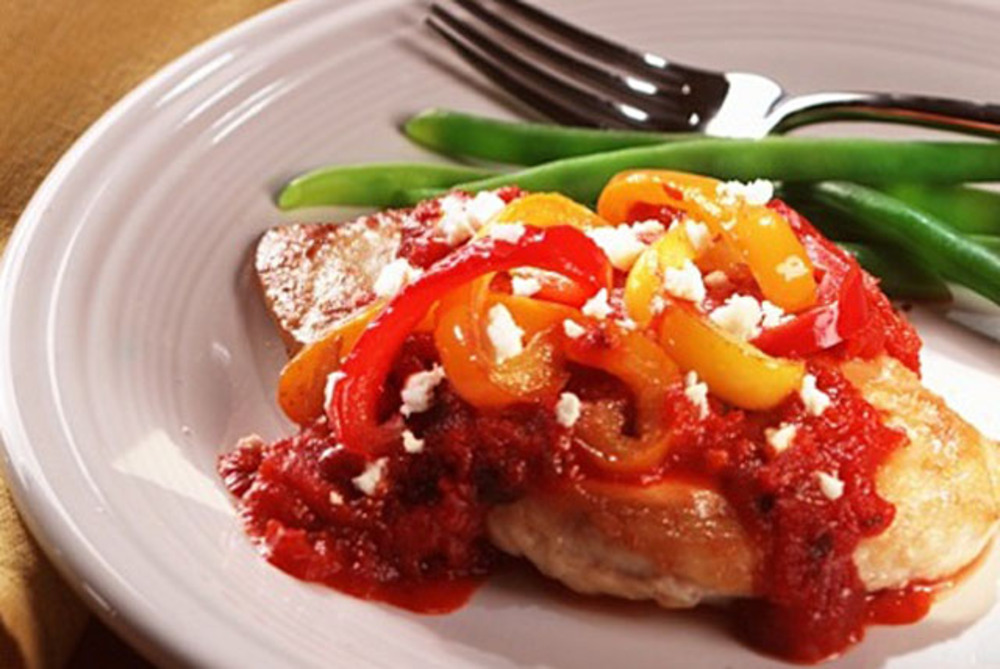 Tomato-Feta Stuffed Chicken and Peppers