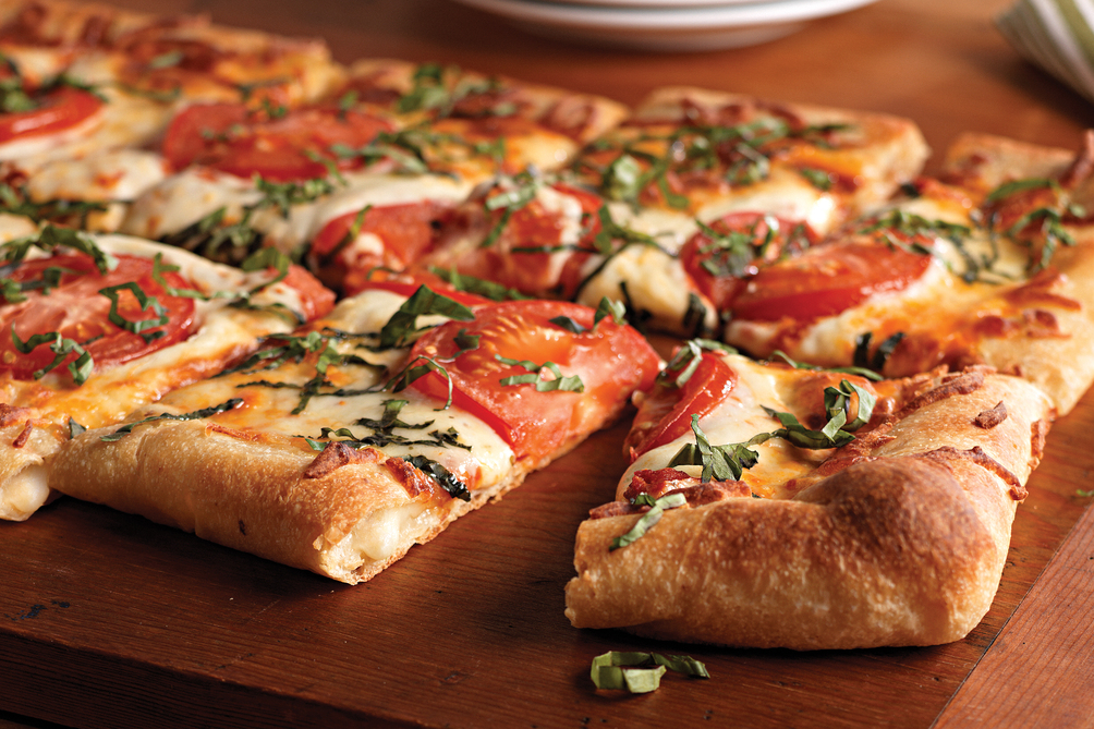 Tomato and Basil Stuffed Crust Pizza