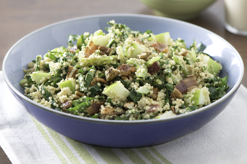 Creamy Quinoa Salad with Kale, Apple and Bacon