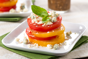 Tomato Towers with Mediterranean Vinaigrette