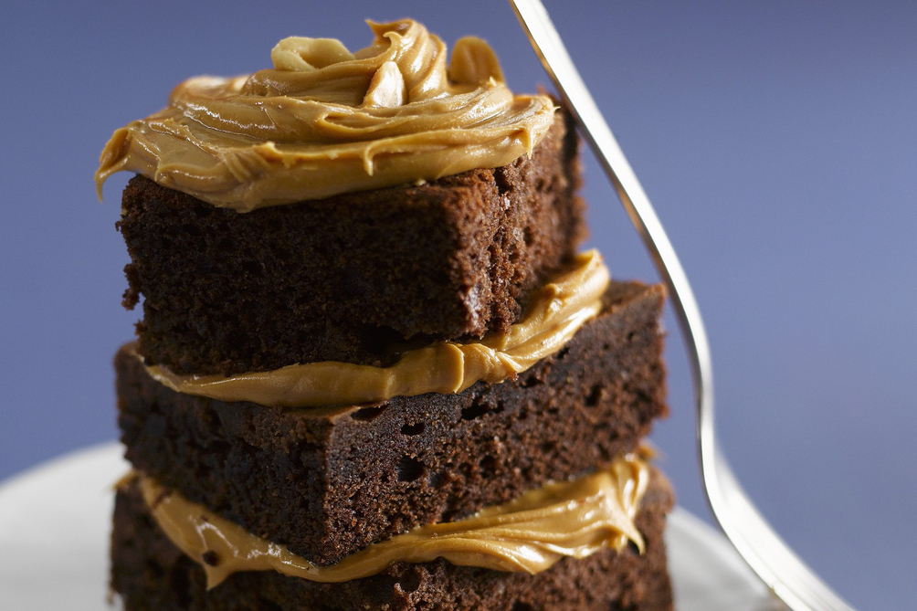 One-Bowl Brownies with Peanut Butter Icing