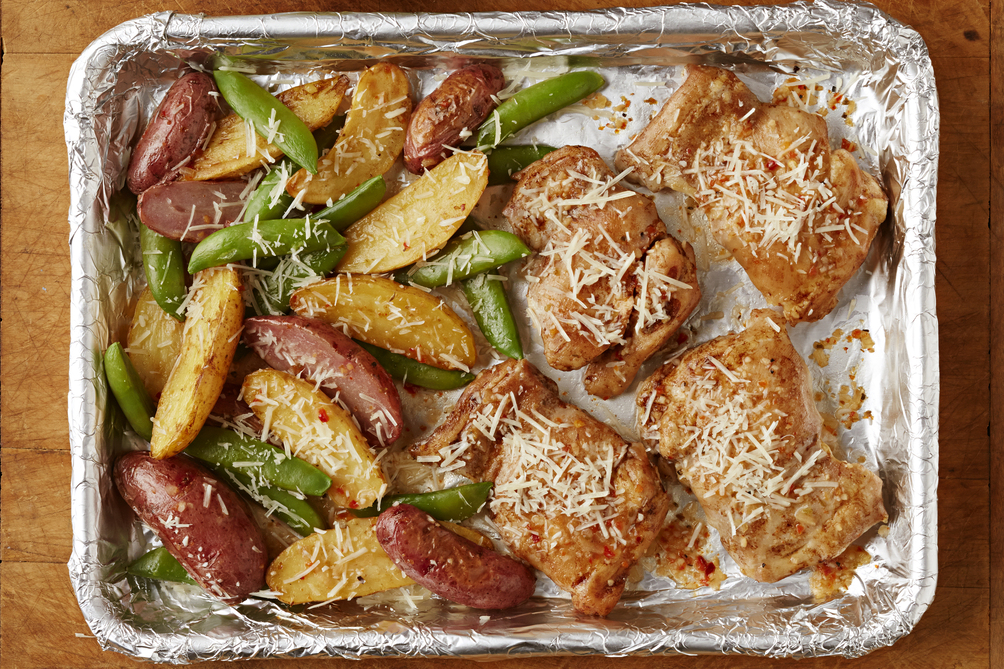 One-Pan Chicken & Potatoes with Snap Peas