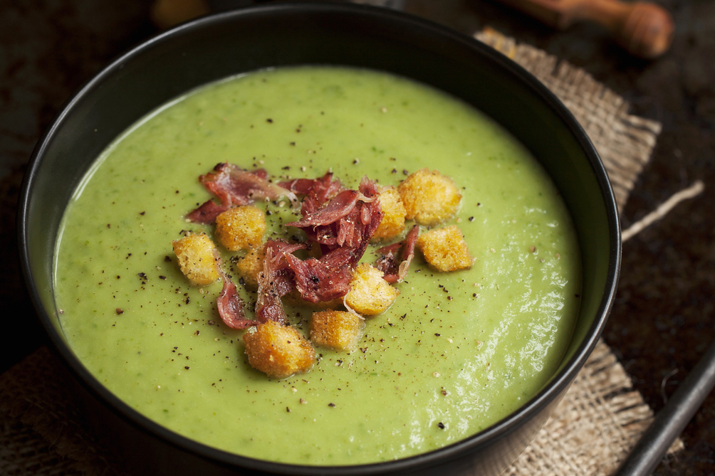 Edamame Soup with Bacon