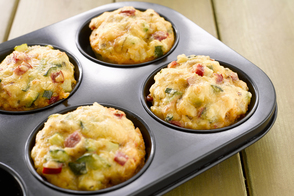 Ham| Cheese and Onion Breakfast Muffins