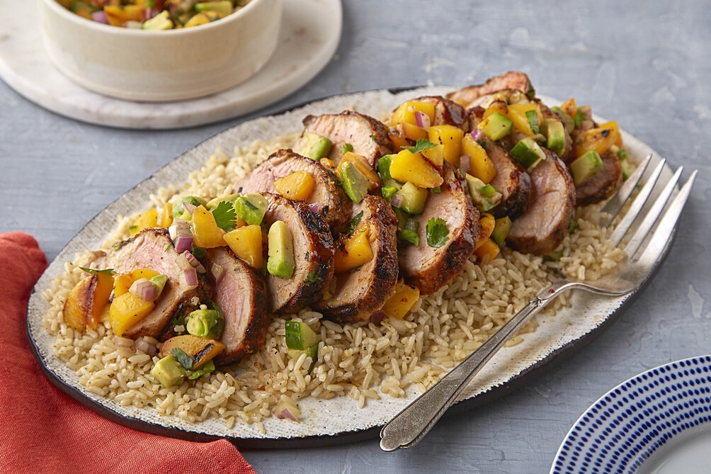 Grilled Pork Tenderloin with Peach-Cucumber Salsa