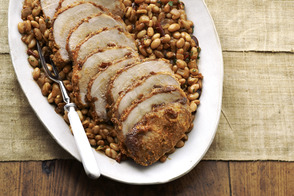 Crusted Roast Pork with White Beans