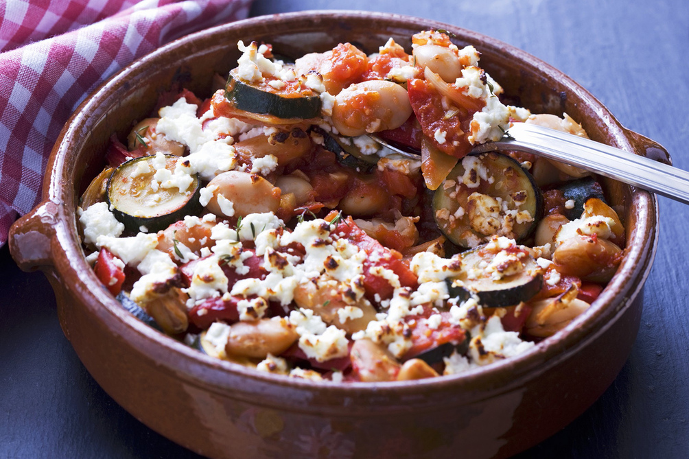 Mediterranean Bean and Veggie Bake