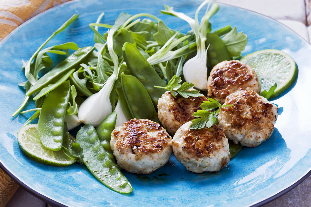 Mini Chicken Patties with Spring Green Salad