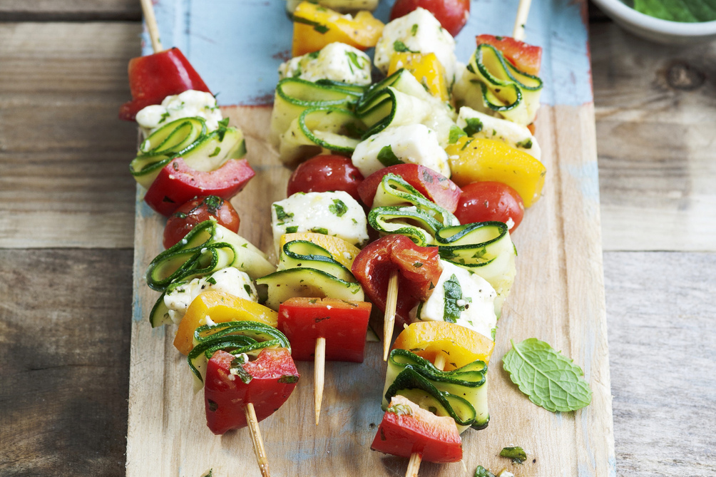 Marinated Vegetable & Cheese Skewers
