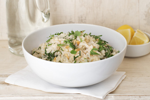 Risotto with Lemon| Arugula and Pine Nuts