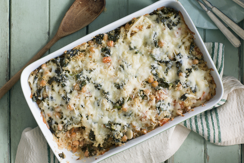 Cheesy Quinoa, Kale and Chickpea Bake