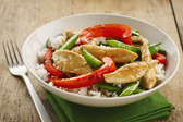 Sizzling Chicken, Pea and Pepper Stir-Fry