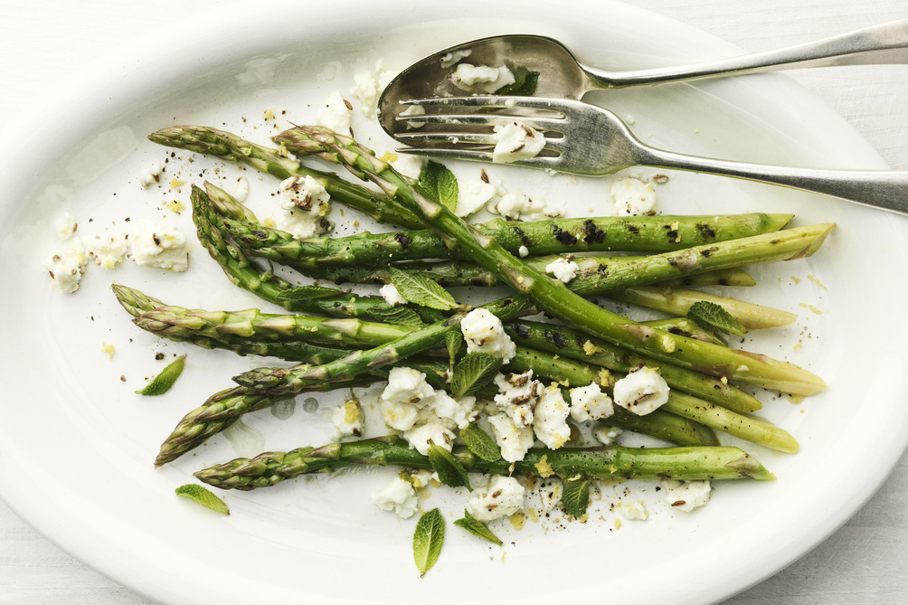 Grilled Asparagus with Feta and Mint