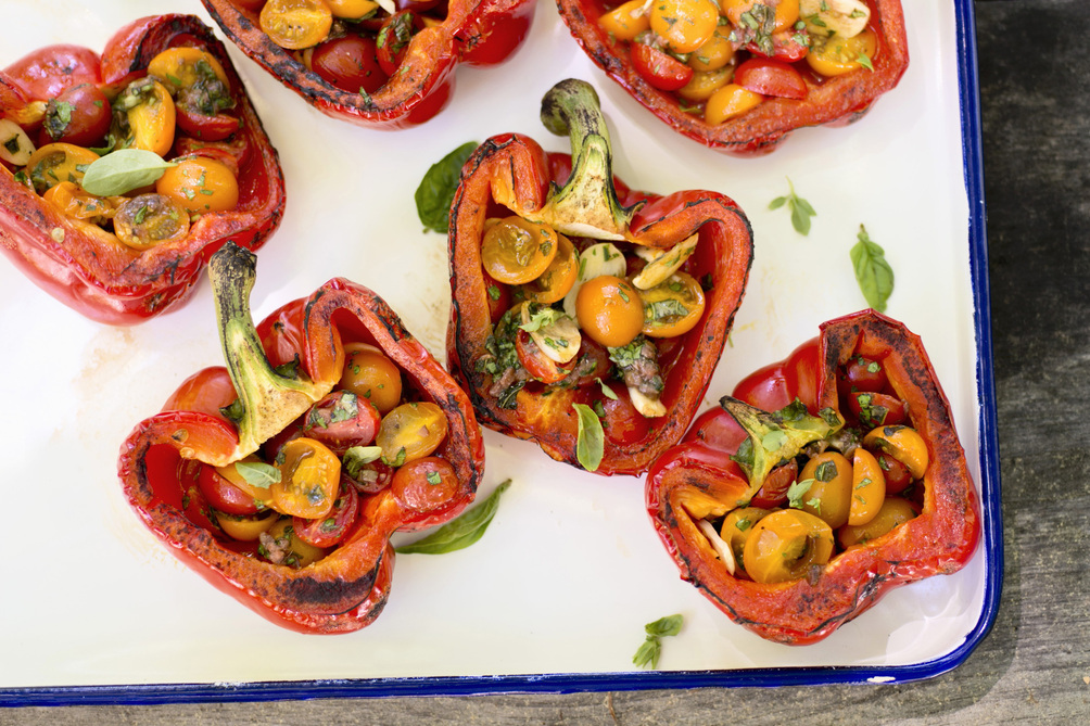 Grilled Peppers Stuffed with Fresh Tomato Salad