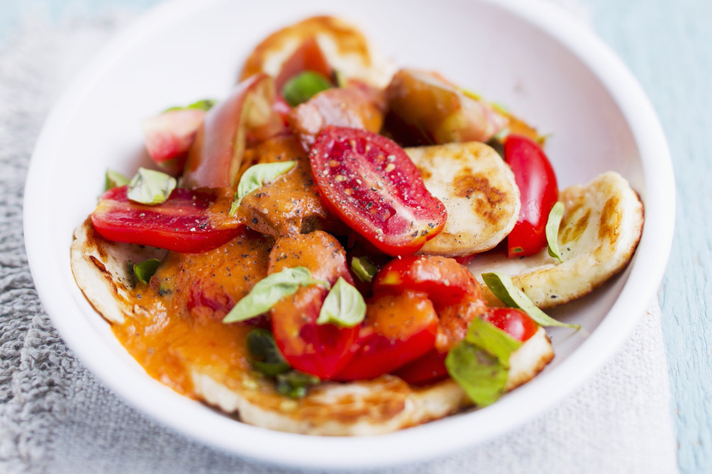 Creamy Halloumi and Tomato Salad