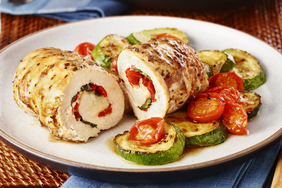 Basil and Roasted Red Pepper Chicken Roll-Ups