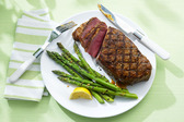 Strip Loin Steak with Garlic-Grilled Asparagus