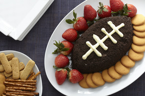 Tartinade biscuits et crème en forme de ballon de football