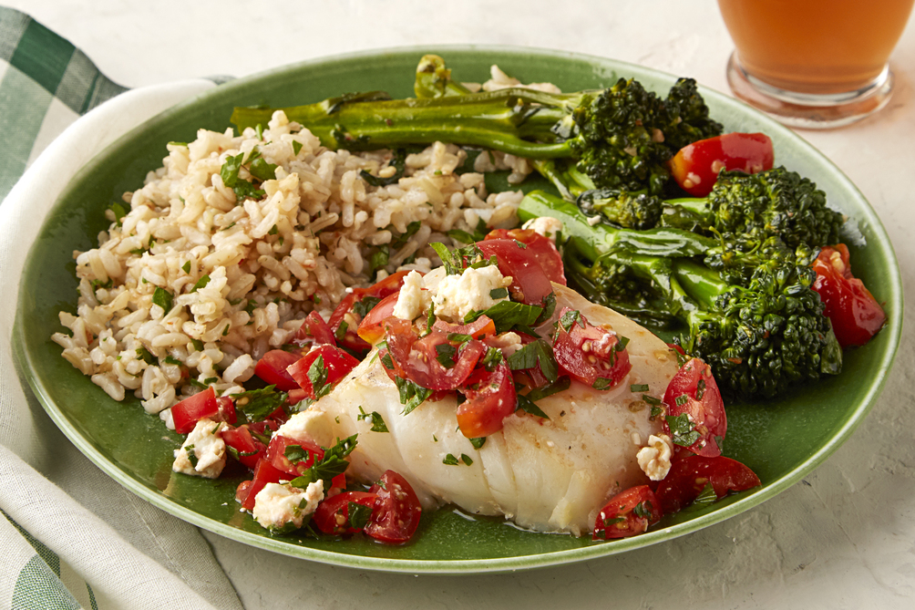 Cod with Tomatoes & Broccolini