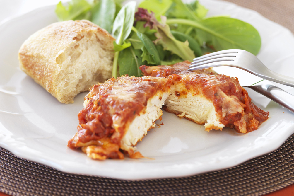 Simple Baked Chicken Parmesan with Marinara Sauce