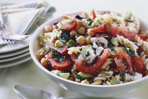 Pasta and Bean Salad with Feta Cheese