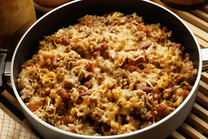 One-Pot Cheesy Sausage| Beans and Rice Dish