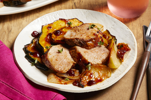 Cranberry-BBQ Pork with Squash & Apples
