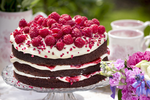 Triple-Layer Chocolate Cake with Cream Cheese Frosting and Raspberries