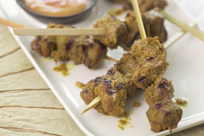 Beef Skewers with Peanut-Chili Sauce