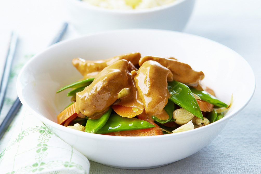 Chicken and Vegetables with Curry-Peanut Butter Sauce