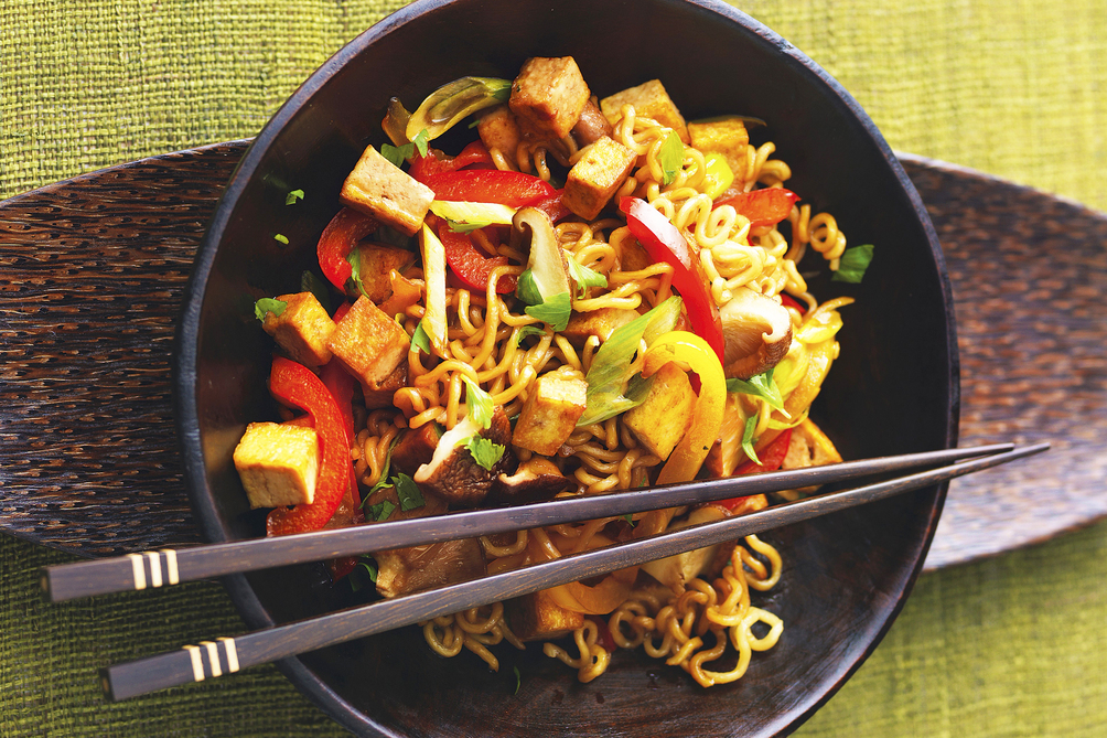 30-Minute Tofu and Noodle Stir-Fry with Peanut Sauce