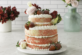 Strawberry-Swirl Wedding Cake