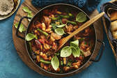 One-Pot Italian Stew with Sausage, Eggplant and Beans