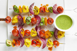 Pattypan Squash Skewers with Creamy Chimichurri