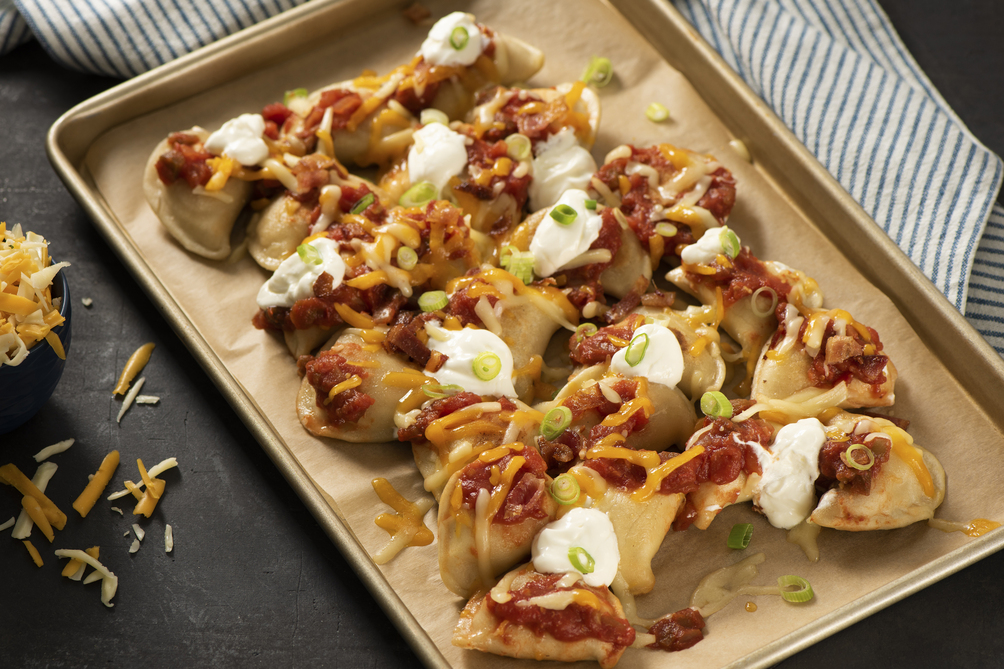 Loaded Pierogies Nachos