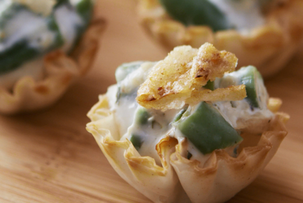 Garlic-Green Bean Casserole Bites