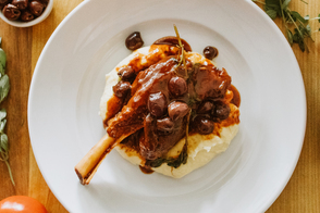 Arrabbiata Braised Lamb Shanks with Creamy Polenta