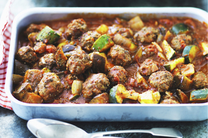 Saucy Meatballs with Mediterranean Vegetables