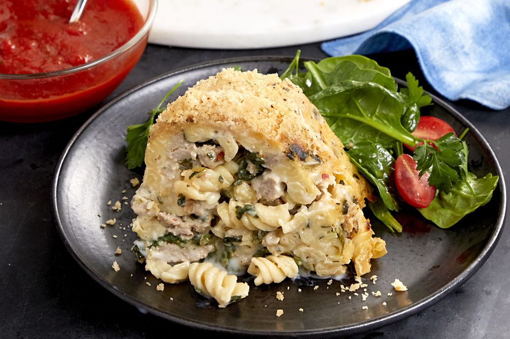Baked Rotini with Sausage and Spinach