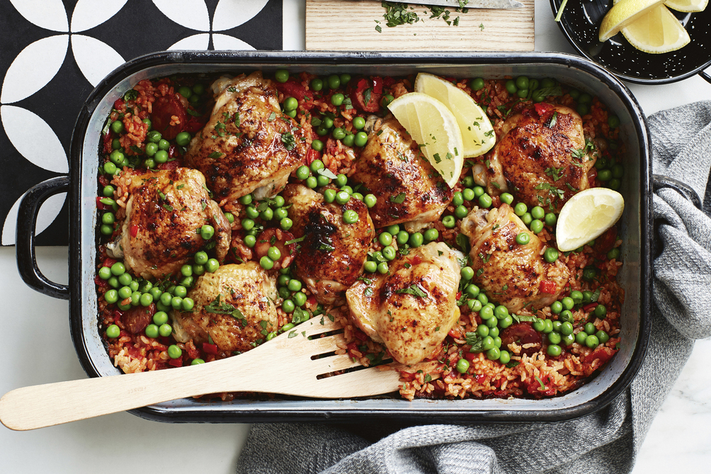 Spanish Baked Chicken with Chorizo Rice