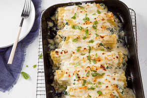 Crab and Spinach Stuffed Manicotti