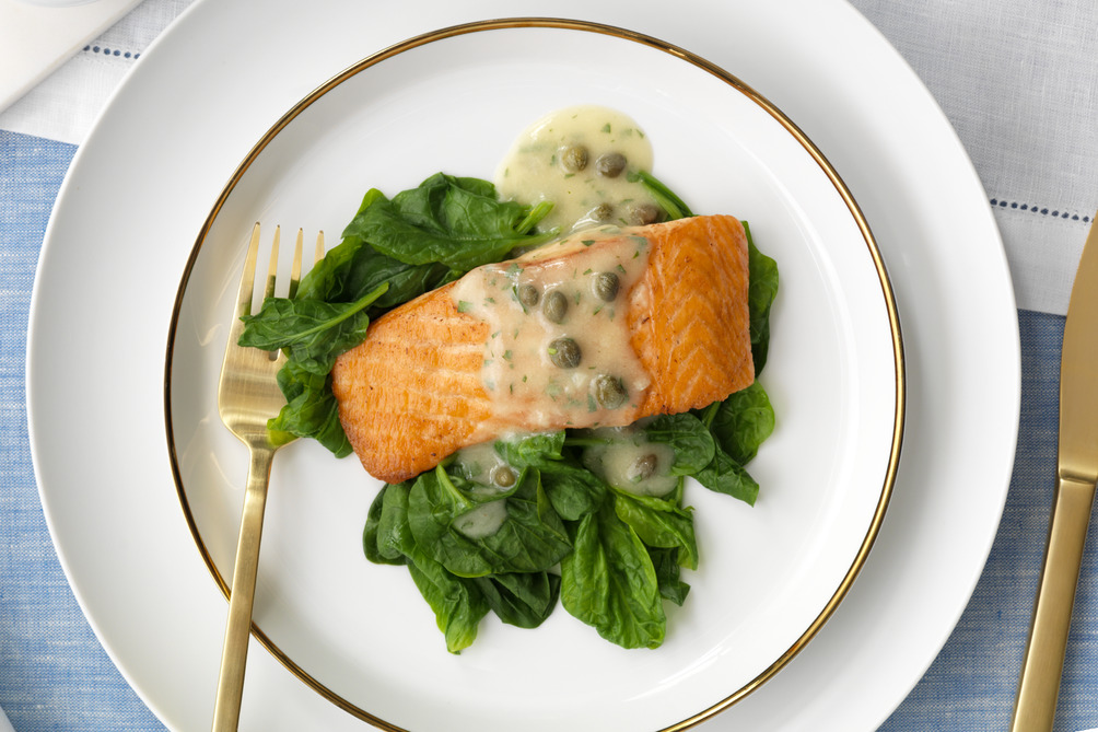 Salmon with Lemon-Dijon Caper Sauce