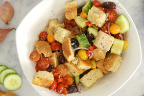 Potluck Greek Panzanella Salad with RENÉE'S Mediterranean Greek Vinaigrette