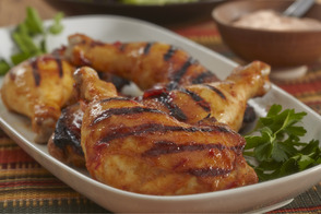 Harissa Grilled Chicken Legs with Creamy Pepper Sauce