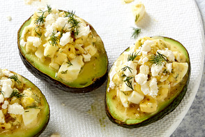 Greek Devilled Egg-Stuffed Avocados