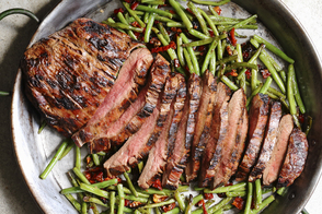 Grilled Flank Steak with Green Beans