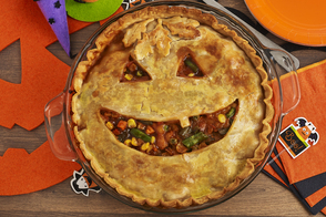 Jack-o'-Lantern BBQ Chicken Pot Pie