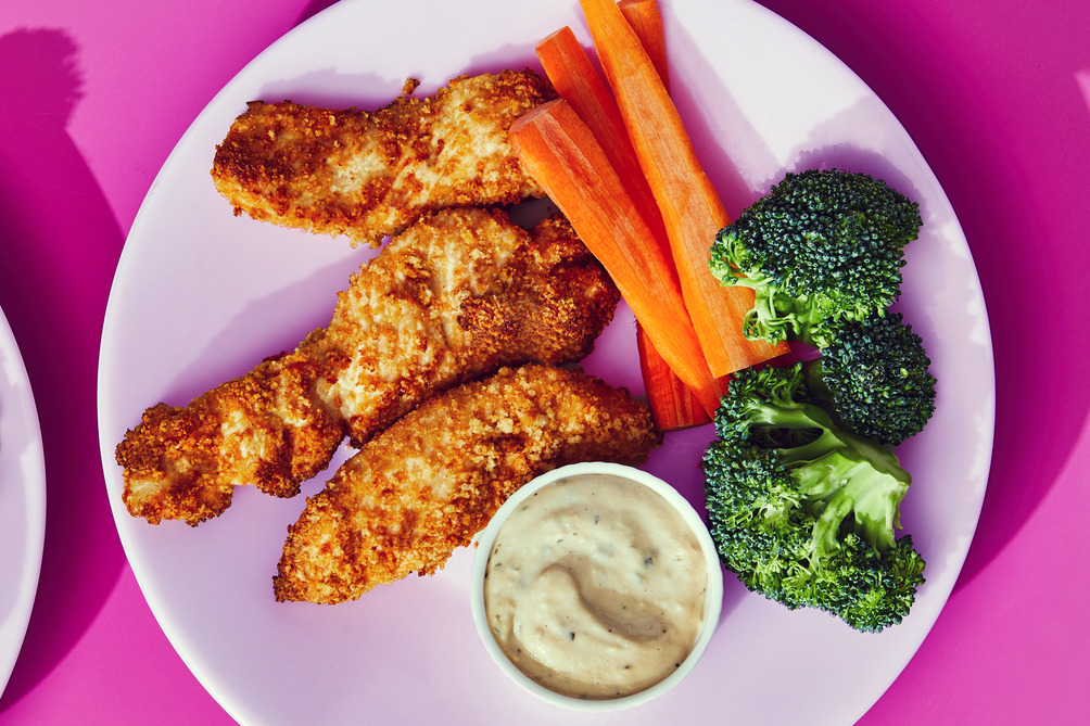 Chicken Strips with Garlic-Parmesan Dip