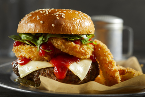 Onion Ring-Topped Burgers