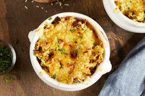 Cheesy Stuffing-Topped French Onion Soup
